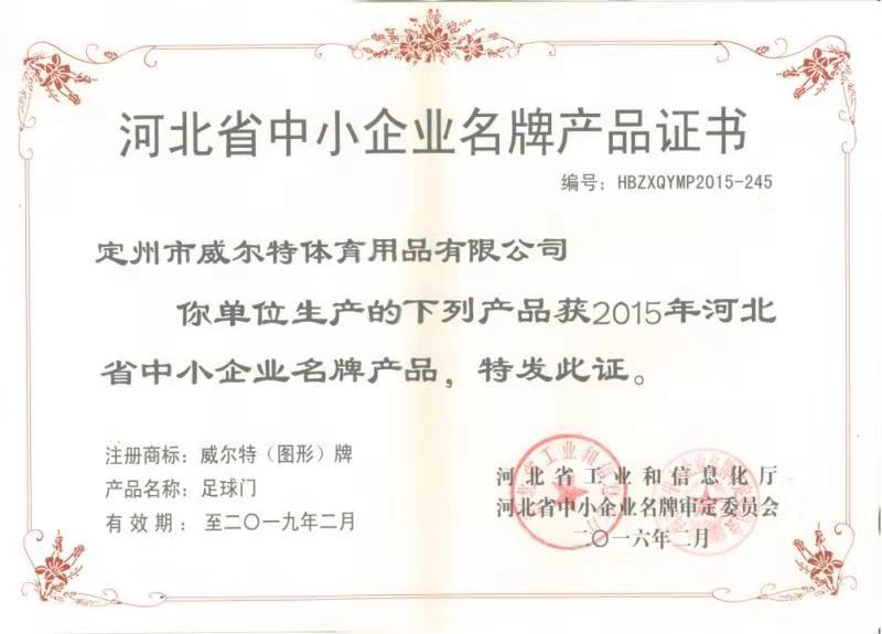 河北省中小企业名牌产品证书-足球门